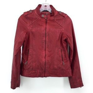 BKE Faux Leather Jacket XS Red Distressed Coat